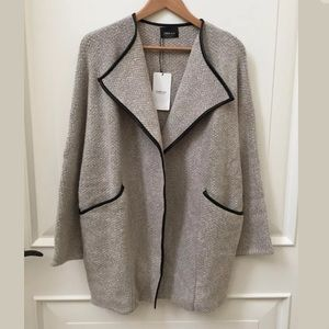 ZARA COAT CARDIGAN WITH FAUX LEATHER PIPING